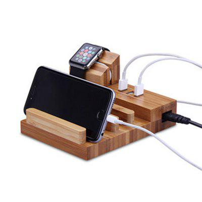 USB Charging Ports Bracket Desktop Phone Holder Stand for Smartphone Apple Watch