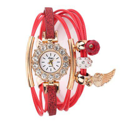 DUOYA D208 Women Fashion Analog Quartz Wrist Watch with Wing Pendant