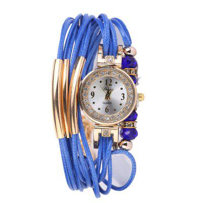 DUOYA D209 Women Fashion Beaded Bracelet Wrist Watch with Diamonds