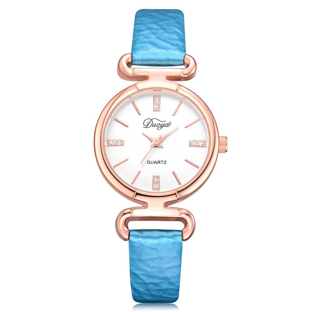 DUOYA D216 Women Simple Rose Gold Bezel White Dial Quartz Watch