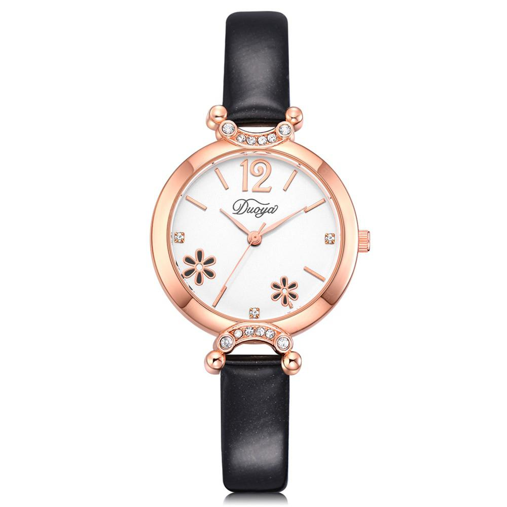 DUOYA D219 Women's Rose Gold Bezel White Dial Flower Wrist Watch