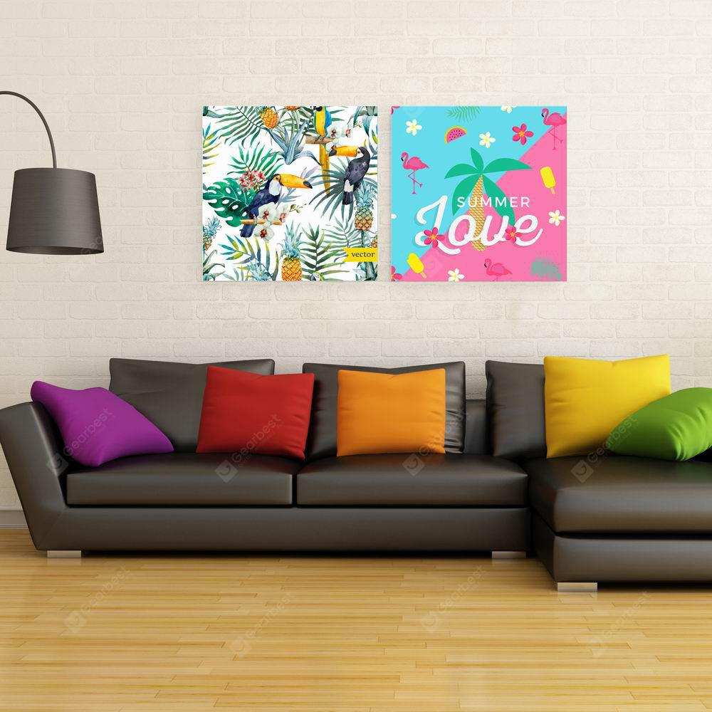 W150 Summer Flowers Unframed Art Wall Canvas Prints for Home Decorations 2 PCS