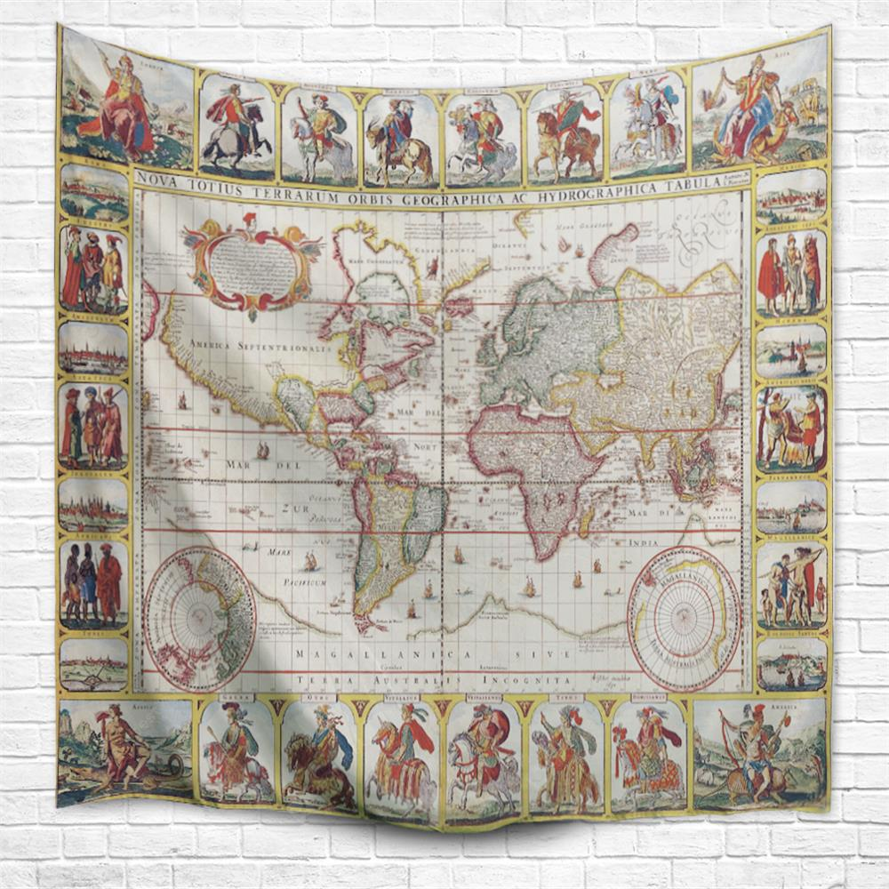 Knights World Map 3D Printing Home Wall Hanging Tapestry for Decoration