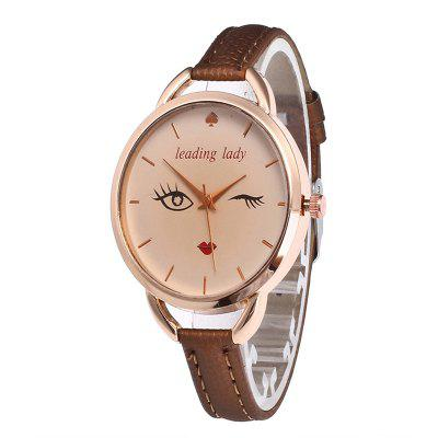 Big Eyes Red Lipstick Women Quartz Watch