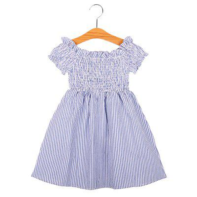 Kids Clothes Girl Short Sleeve Off Shoulder Striped Dresses