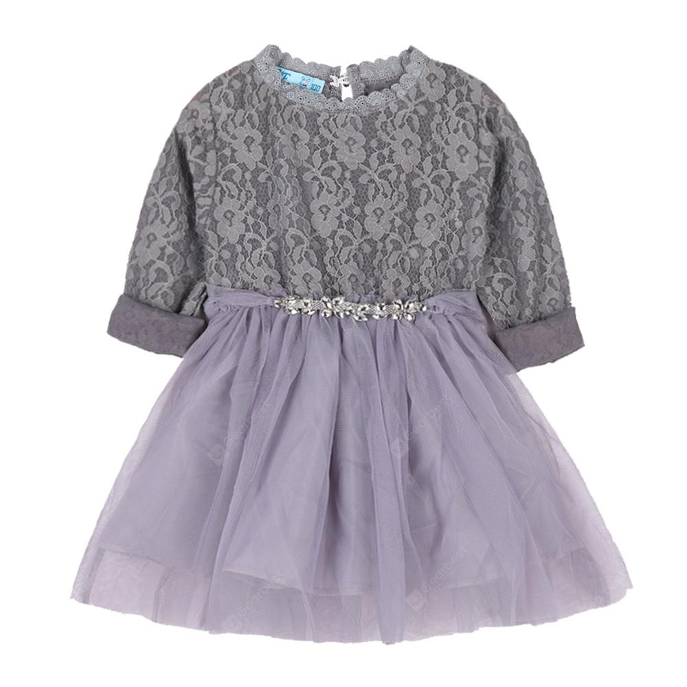 Girls Clothes Gray Lace Long Sleeve Dress