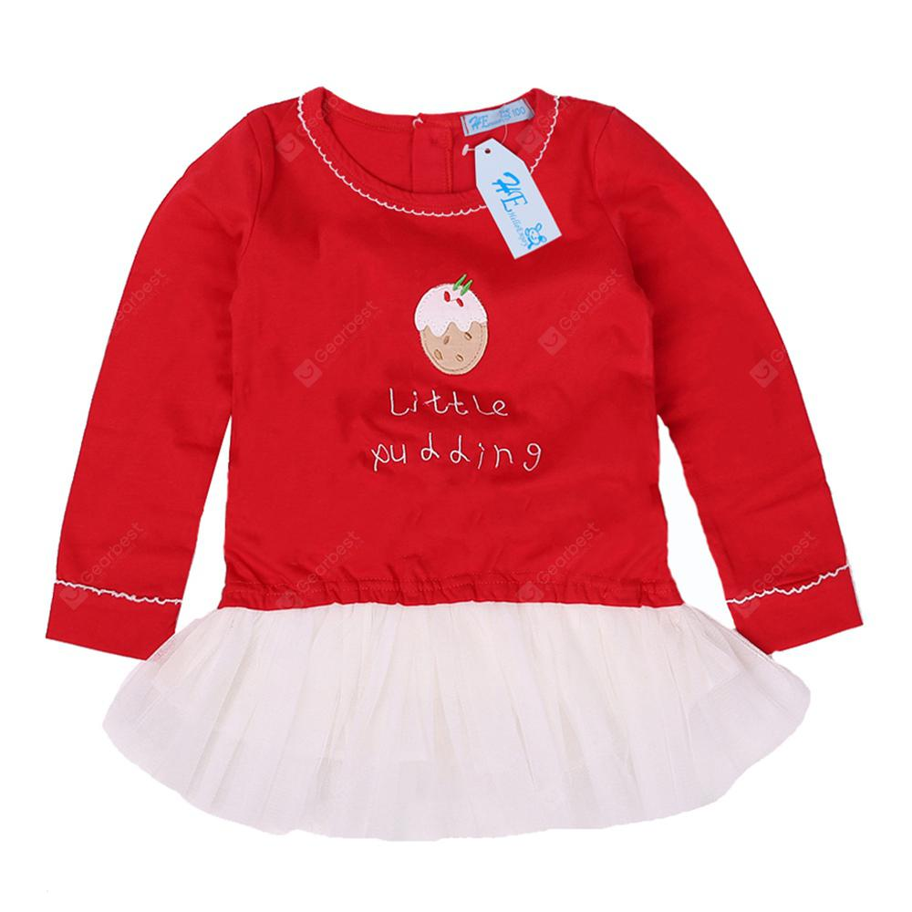 Girl Christmas Costume Red Long Sleeve Letter Dress