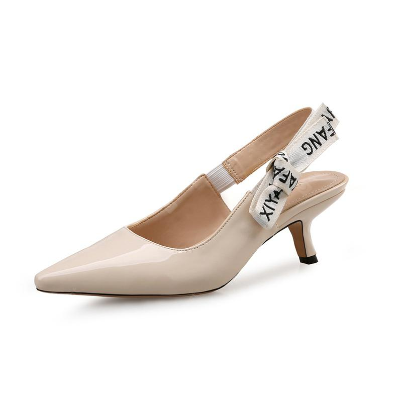 VICONE Women Summer Patent Leather Party Pointed Toe Elegant Fashion High Heels