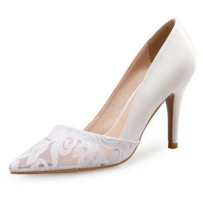 VICONE Women Summer Appliques Pointed Toe Sweet Heels