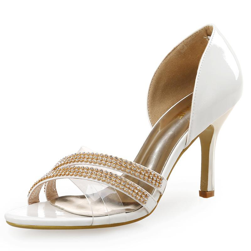 VICONE Women Summer Pointed Toe Casual Crystal Fashion Heels