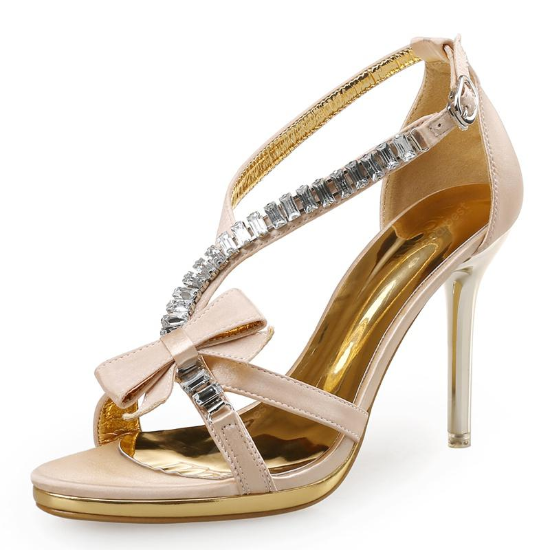 VICONE Women Summer Pointed Toe Crystal Butterfly-knot Party Sweet Heels