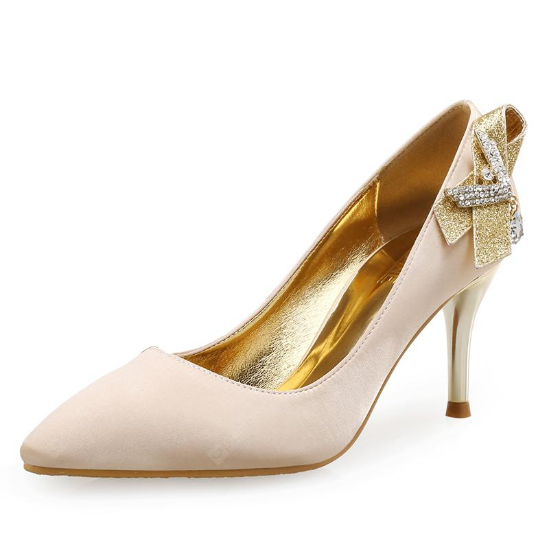VICONE Women Spring Autumn Pointed Toe Crystal Party Wedding Heels