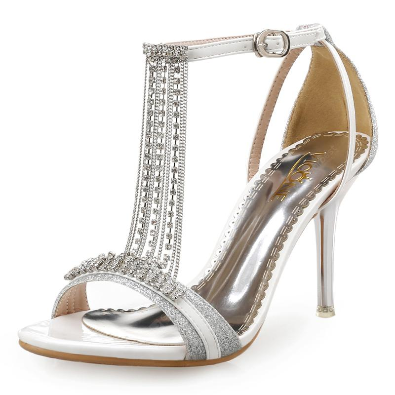VICONE Women Summer Pointed Toe Crystal Party Fashion Mature T-Strap Heels