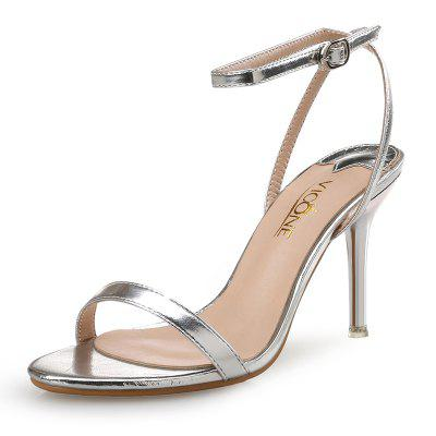 VICONE Women Summer Pointed Toe Party Fashion Concise Narrow Band Fretwork Heels