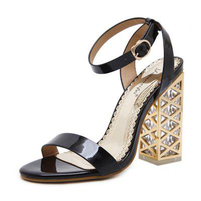 Crystal and Open-Toed Sandals High Heels  Hollowed Out Women's Shoes