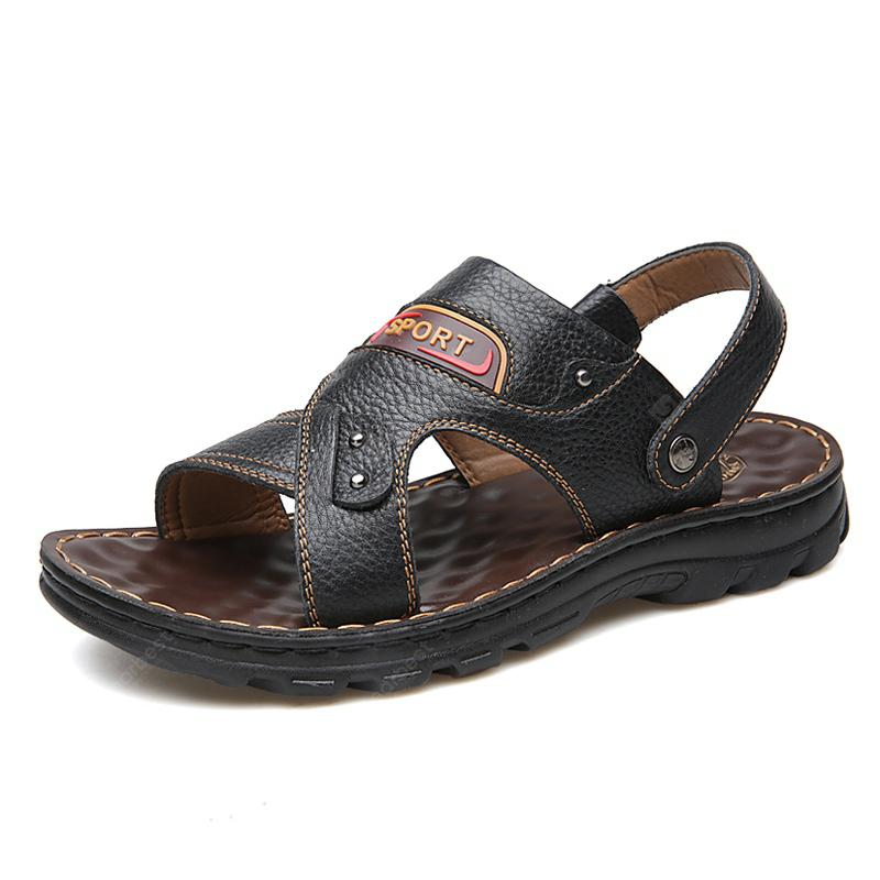 Male  Summer Slippers Fashion CooL Causal Outdoor  Leather Men's Sandals
