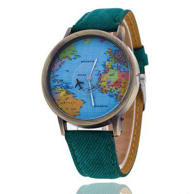Homens Harajuku Relógios World Map Design Analog Quartz Watch