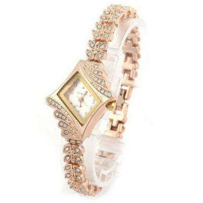 Stainless Steel Montre  Fashion  Crystal Quartz Rhombus Bracelet Watch