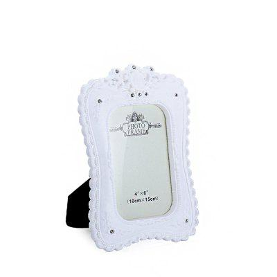 Bz-07 Rustic White Resin-Encrusted Picture Frame