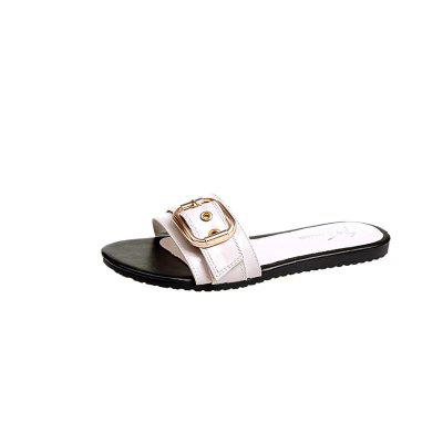 Flat Metal Buckle All-match Word Slippers