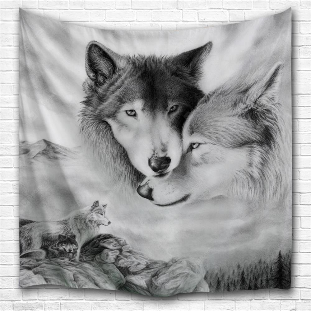 Couple Wolves 3D Printing Home Wall Hanging Tapestry for Decoration