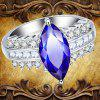 Leaves Artificial Diamond Zircon Ring - DEEP BLUE