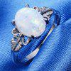 Feather Big Gem Couple Ring - WHITE