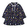 Girls Long-sleeved Dog Print Dress - BLACK