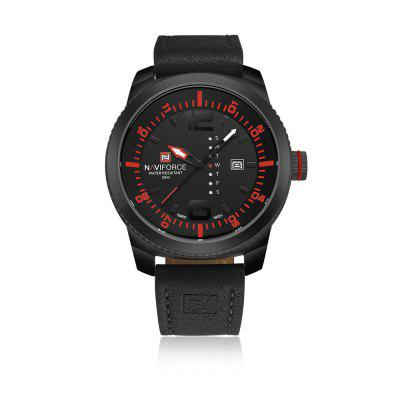 NAVIFORCE Men Military Sports Quartz Data Skóra Wrist watch