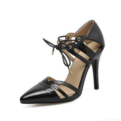 Snakeskin High Heel Shoes Hollowed Out Sexy Women's Shoes
