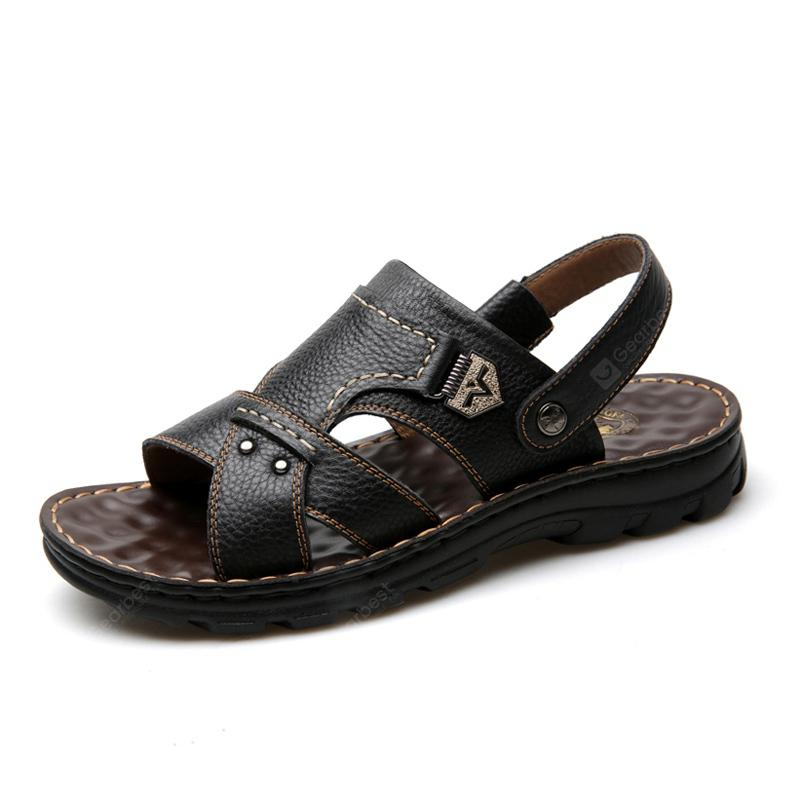 Male Sandals Summer Casual Soft Sport Open Toe Leather Men's Sandals Slippers