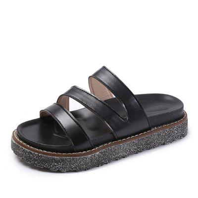 Wear Non Slip All-Match Thick Soles Muffin Word Female Slippers