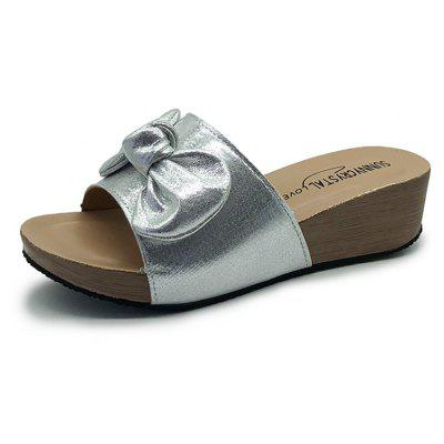 Fashion Bow Flat Bottom Comfortable Female Slippers