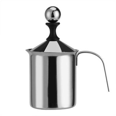 400ml Stainless Steel Creamer Pump Milk Frother Double Froth Foamer
