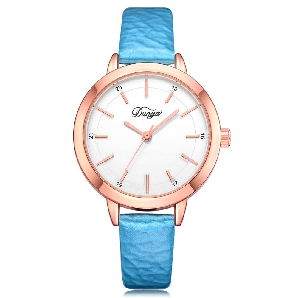 DUOYA D221 Women PU Leather Quartz Watch with Arabic Numbers