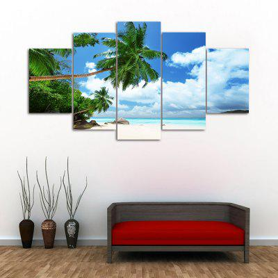 Island Beach 5PCS Frameless Printed Canvas Wall Art Paintings