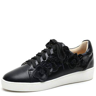 Flower Decor Lace Up Sneakers