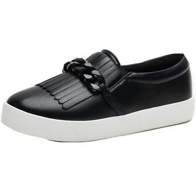Stripe Buckle Flat Sneaker Shoes