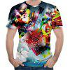 2018 Summer New Mesh Fabric Fashion 3D Print Men's Short Sleeve T-shirt - MULTI-H