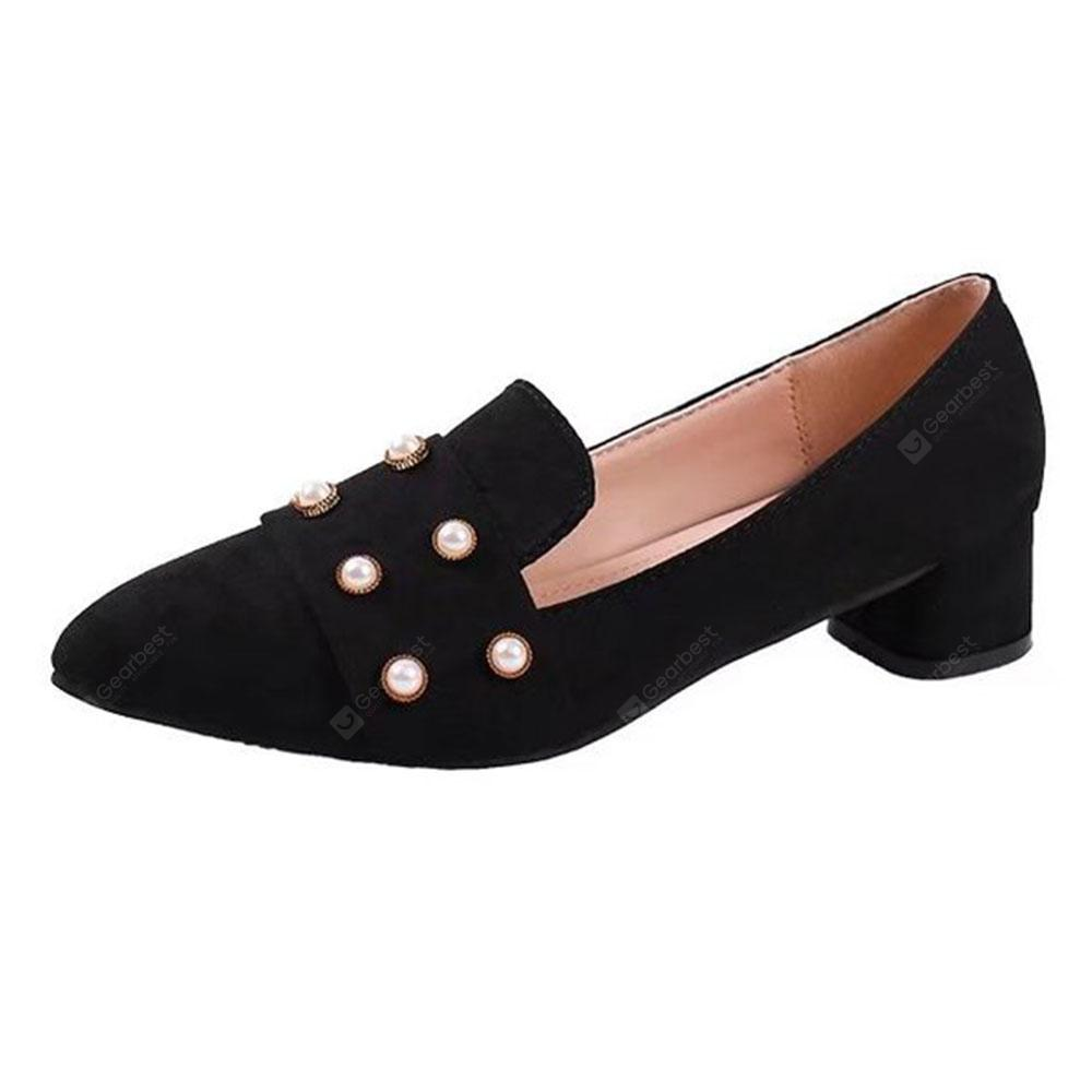 Suede Pointed Rhinestones with A Single Shoes