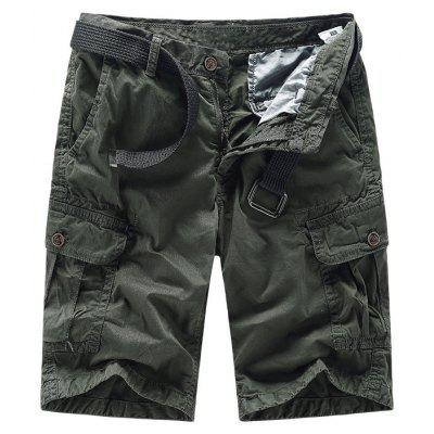 Men Shorts Casual Cozy Solid Color Cropped Cargo Pants Without Belt