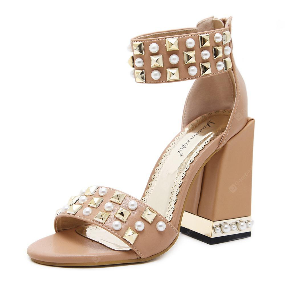 Open-Toed Sandals  Thick Heels  High-Heeled Shoes