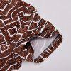 New Stylish Brown Pattern 3D Print Men's V-Collar T-shirt - PUCE