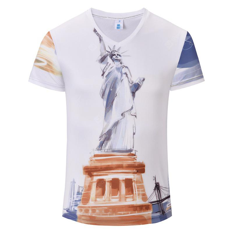 Casual Fashion New Statue 3D Print Men's V-Collar T-shirt