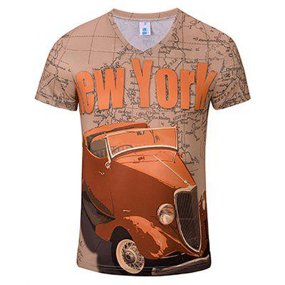 3D Fashion New Red Car Print Men's V-Collar T-shirt