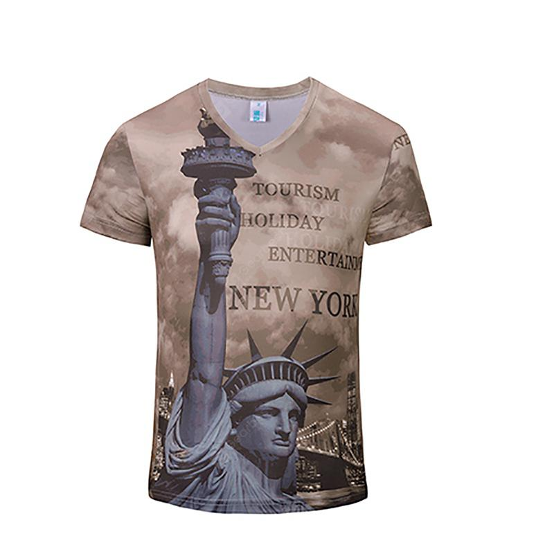 New Fashion Statue 3D Print Man V Collar T-shirt