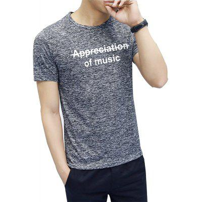 Men Short Sleeve Polyester Casual T-shirt