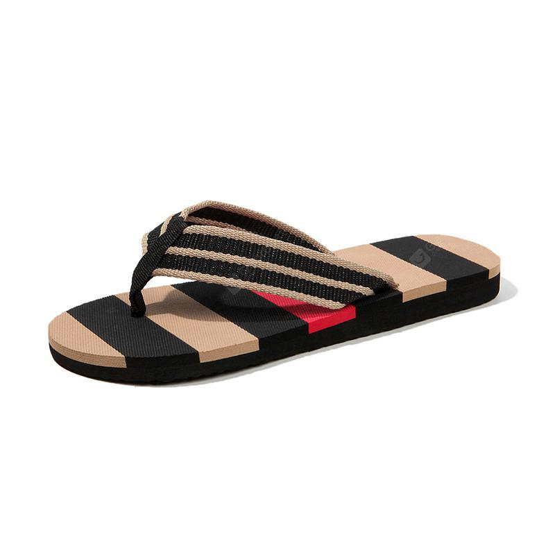 Men'S Youth Summer Striped Slippers Flip-Flops Home Slip Slippers