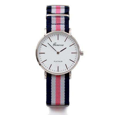 Moda Feminina Stripe Nylon Band Quartz Watch