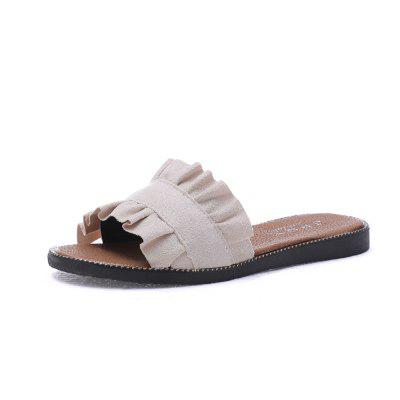 Fallow Female Slippers with Lace of Auricularia